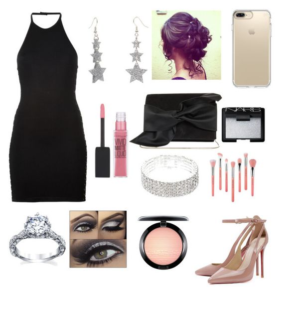 """""""Night out on the town"""" by hannawennberg-1 ❤ liked on Polyvore featuring Balmain, Victoria Beckham, Maybelline, Speck, MAC Cosmetics, Bdellium Tools and NARS Cosmetics"""