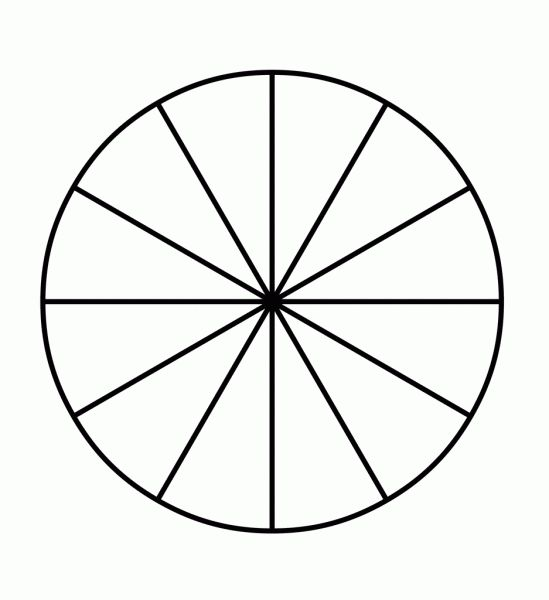 Circle Divided Into 12 Pieces | Printable | Pinterest | Fractions ...
