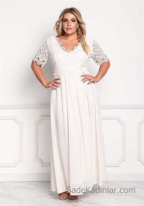 2020 Buyuk Beden Abiye Ve Gece Elbiseleri Beyaz Uzun V Yakali Kisa Kollu Klos Etekli Battal Boy Kiyafetler Elbise Elbise Modelleri
