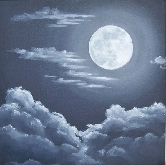 night sky painting original acrylic painting of full moon and clouds night skyscape moon art original art on canvas black gray 10x10 acryclic painting soft