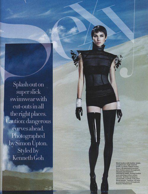 June 2008, Harper's Bazaar Singapore, model: Simone Kerr, photographer: Simon Upton, black latex stockings by REACTOR RUBBERWEAR, source pic: blog.livluxmag.com