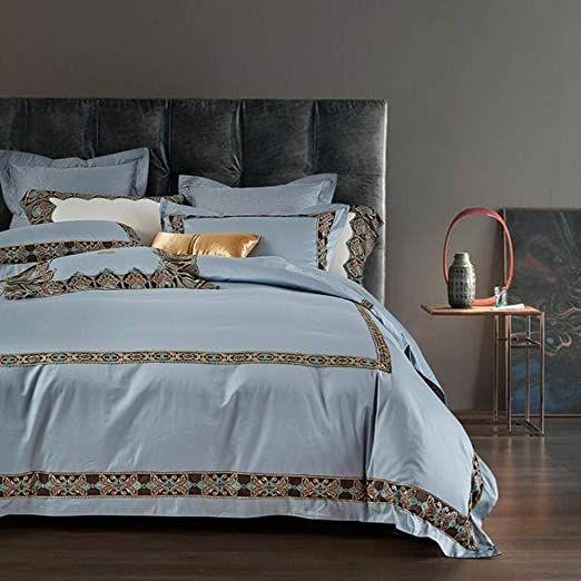 Bed Set 4 Pcs Egyptian Cotton Lace Blue Bedding Sets 1000 Thread Count Duvet Cover Bed Sheet Set Queen King Size Blue Bedding Sets Blue Bedding Bed Sheet Sets