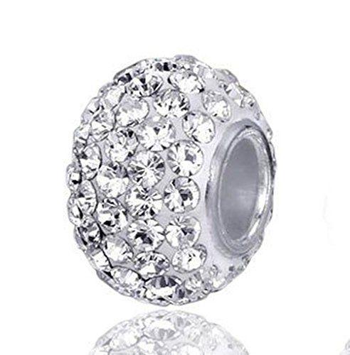 """Andante-Stones perle cristal Argent 925 Sterling original et massif """"White Princess"""" Élément bille pour perles European Beads + Étui en…"""