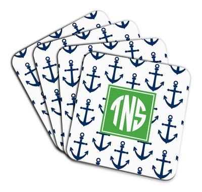 Navy Anchors Coaster Set: Anchors Coaster, Sea Me, Navy Anchors, Coaster Set