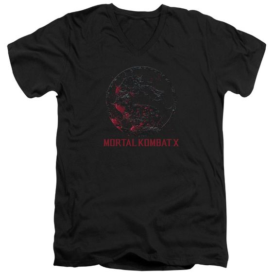 Mortal Kombat X/Bloody Seal Short Sleeve Adult T-Shirt V-Neck 30/1 in