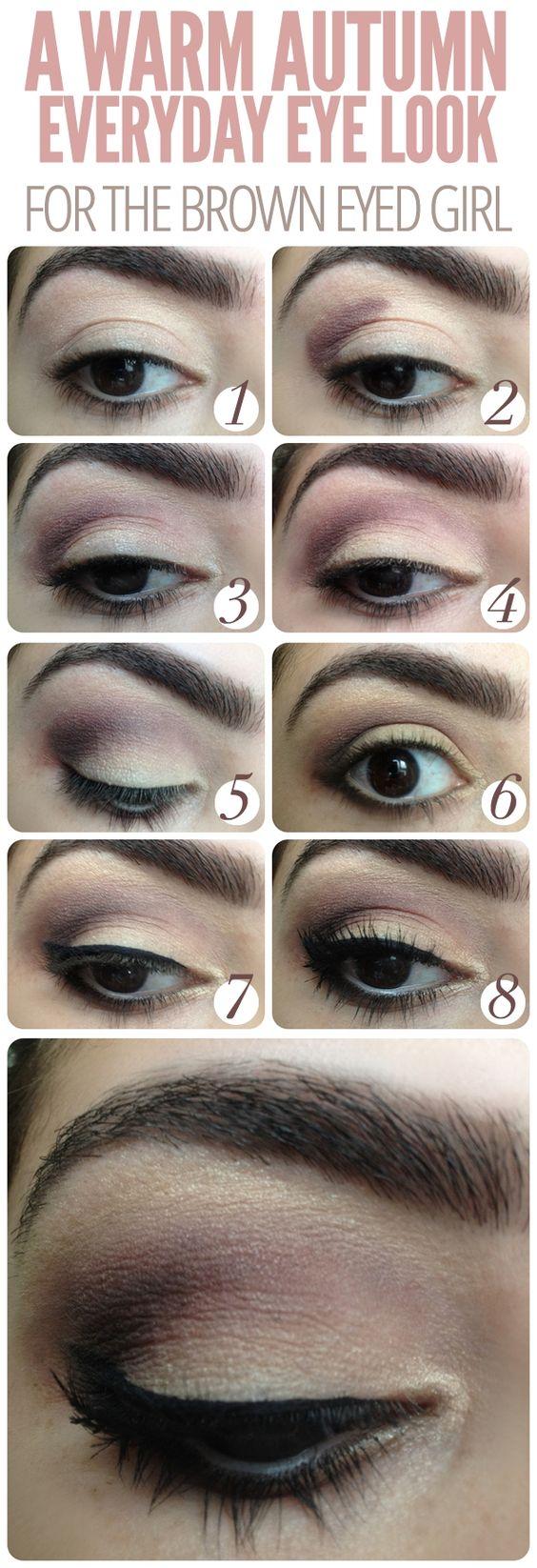 Everyday Fall Smokey Eye For The Dark, Browneyed Gal Everyday Fall Smokey  Eye For The Step 1 Apply A Shimmery Eyeshadow