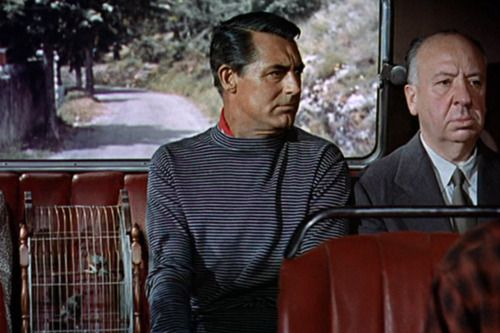 Alfred Hitchcock's cameo in To Catch a Thief appears about nine or ten minutes into the film, he can be seen sitting next to Cary Grant's character John Robie on the bus: