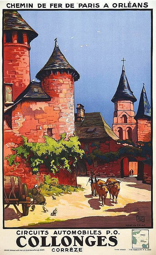 FRANCE VINTAGE TRAVEL POSTER Collonges RARE NEW