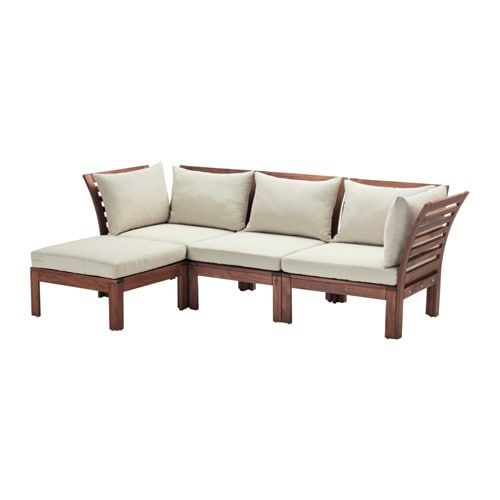 Applaro With Footstool Brown Stained Brown Stained Hallo Beige 3 Seat Modular Sofa Outdoor Ikea Ikea Garden Furniture Modular Corner Sofa Outdoor Lounge Furniture