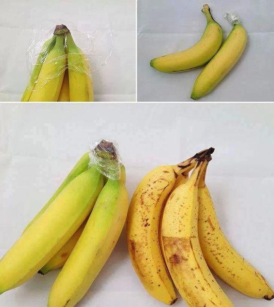 Dat is een nuttige tip Stukje folie om de plek waar de bananen aan elkaar vast zitten,zo worden ze niet bruin.