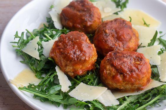 Giada's Giada's Pork Meatballs Over Arugula - Giadzy