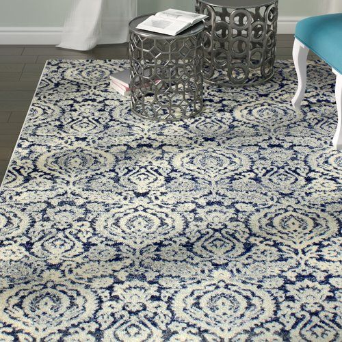 Rosdorf Park Bodell Power Loom Dark Blue White Rug Blue And White Rug Dark Blue Rug Area Rugs