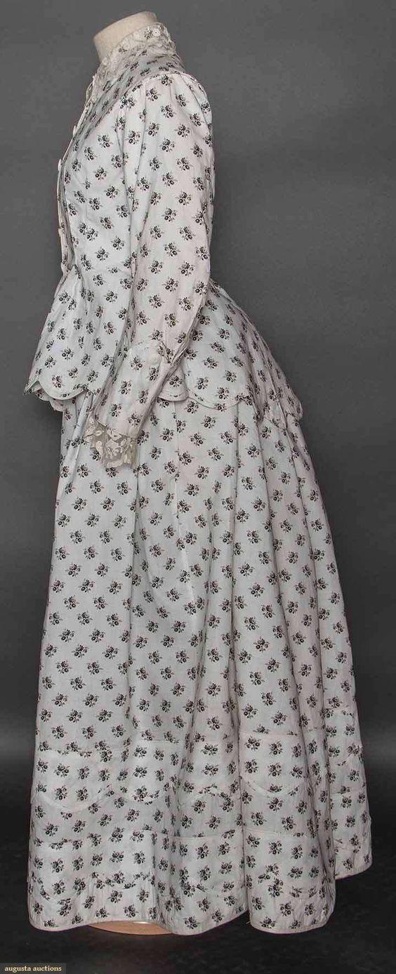 Cotton Print Bustle Dress, 1870s, Augusta Auctions, April 8, 2015 NYC, Lot 100