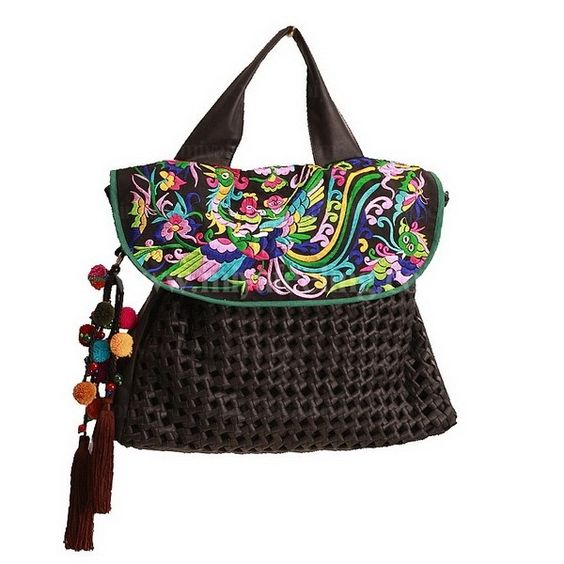 Guduo 2012 Ethnic Embroidered Beaded Soft Leather Backpack Black