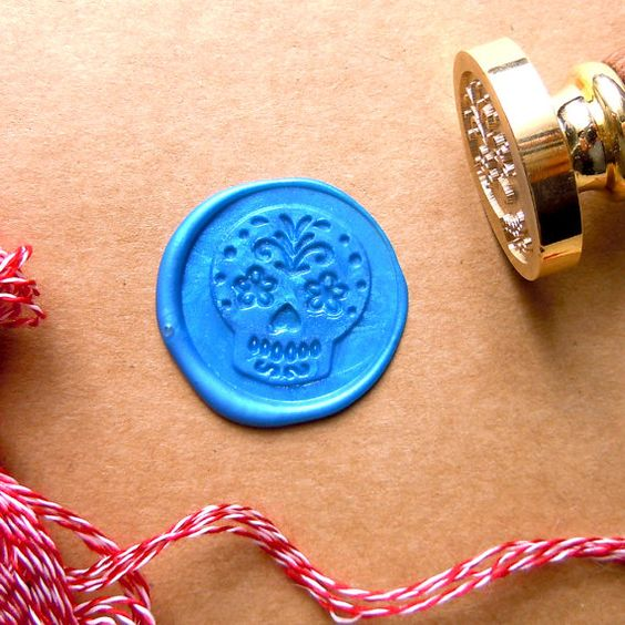 Flower Skull seal stamp orignal designed by me. It is make to order metal seal stamp, if you need put lettering on it please let me know.  Materials:
