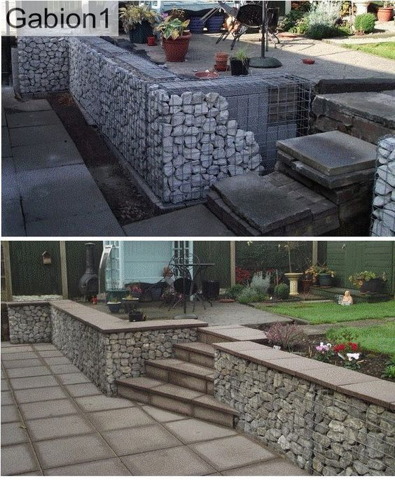 Gabion wall with back of gabions filled with concrete Gabion wall design