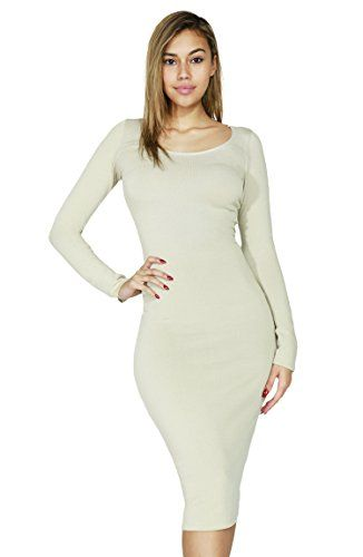 Lovely Women Solid Basic Stretch Round Neck Long Sleeve Rayon Bodycon Dress (Medium, Beige-3367) ** More info…