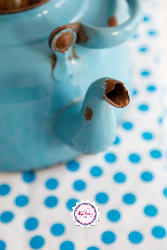 Syl loves, blue, vintage, enamel, polka dot