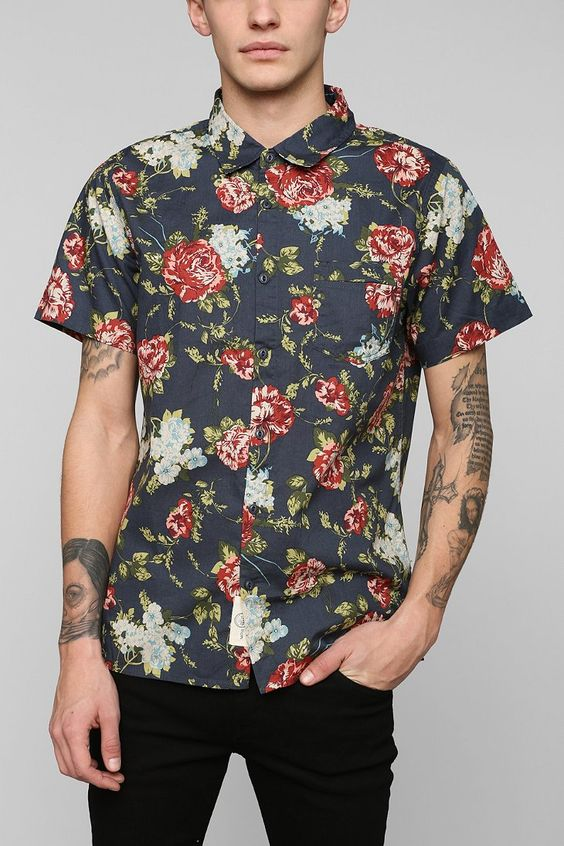 Floral Button Down Shirt Mens