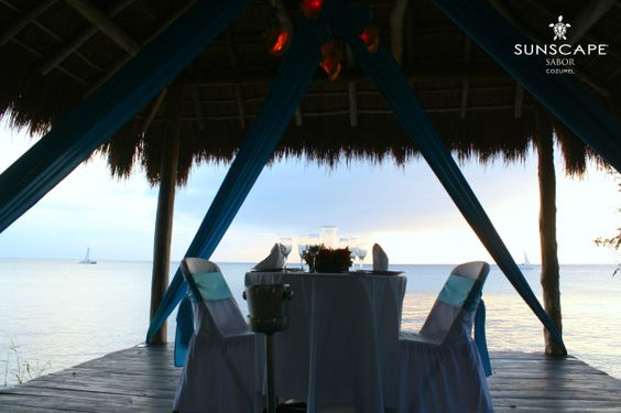 Dinner outdoors always comes with a perfect beach view at Sunscape Sabor Cozumel!