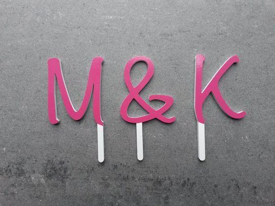 Steckbuchstaben Hochzeitstorte von logo-cut auf DaWanda.com
