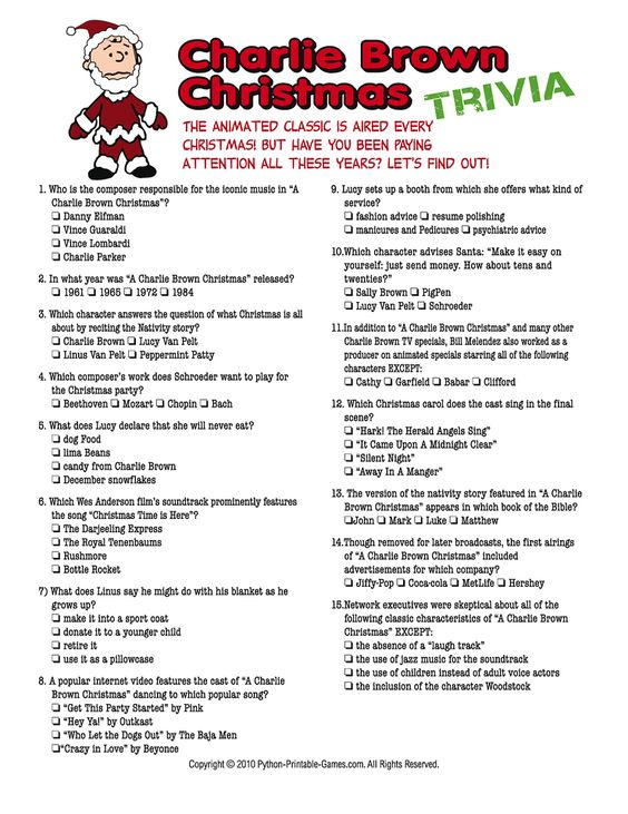 Charlie Brown Christmas trivia The Frugal Deer Christmas - refund policy