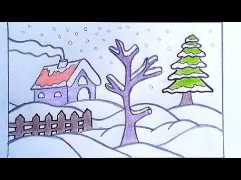 تعليم رسم منظر طبيعي سهل لفصل الشتاء والثلج بالرصاص رسومات جميلة وسهلة Youtube In 2020 Nature Drawing Landscape Drawings Drawings