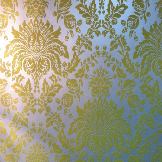 Graham and Brown flocked Elizabeth yellow-Silver wallpaper @ $150 per roll.