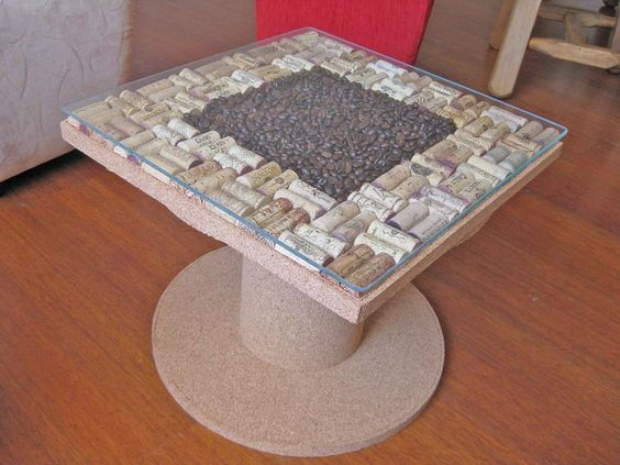 Table made with wine corks