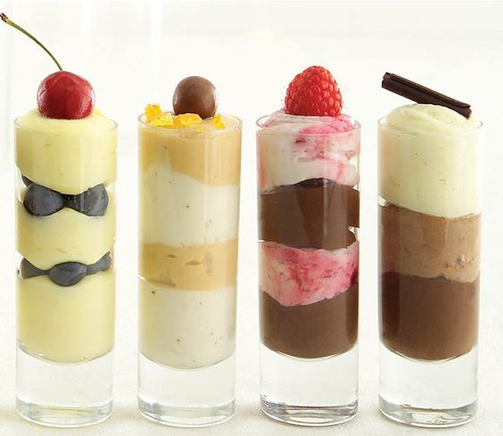I like the way all these varieties of dessert shooters look together, but none of them look appetizing to me. (Then again, I am full of dinner and dessert right now, so...)