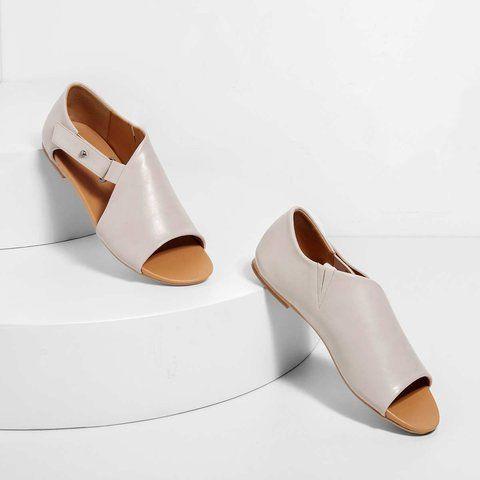 Women Open Toe Closed Back Flat Heel