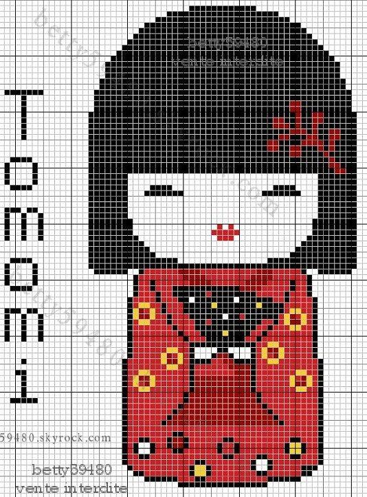 Kokeshi hama perler bead pattern: