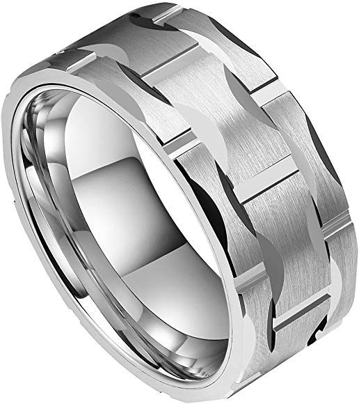 Doux Men S 10mm Brick Pattern Silver Tungsten Carbide Statement Ring Wedding Ring For Anniversary 7 Tungsten Carbide Wedding Rings Mens Tungsten Wedding Rings