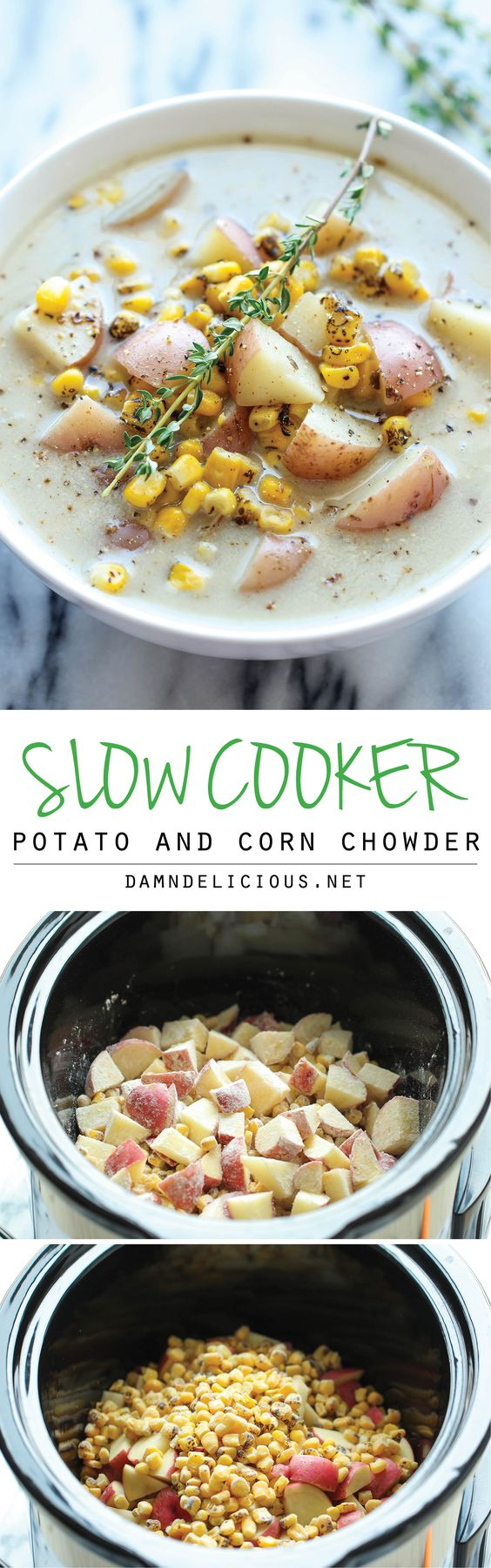 Slow Cooker Potato and Corn Chowder: the easiest chowder you will ever make - throw everything in the crockpot and you're set.