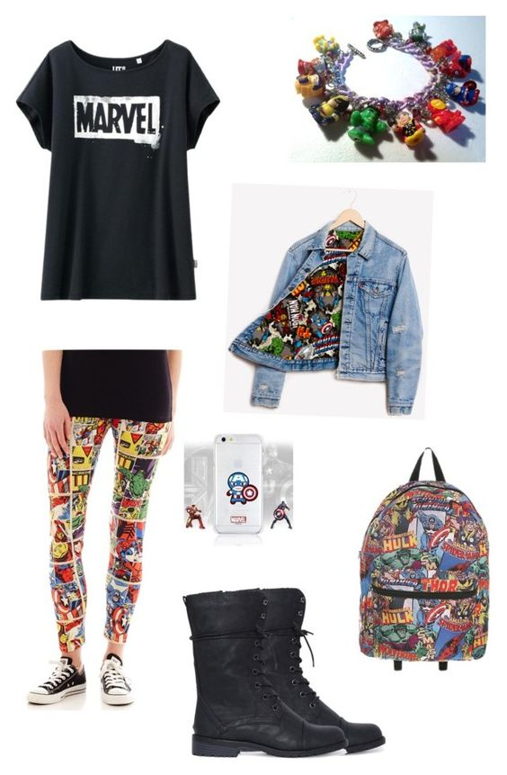 Marvel at School by thegivingtree on Polyvore featuring Uniqlo, Runwaydreamz and Hybrid Tees
