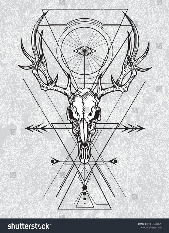 Skull Of The Deer In Ink Graphic Technique Vector Illustration Of Deer Skull With Sacred Geometry Sh Deer Skull Drawing Geometric Animal Tattoo Geometric Deer