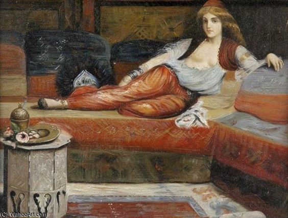'Reclining Odalisque' by Charles Théodore Frère (1814-1886, France)