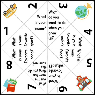 Getting to Know You Back to School Paper Quizzers (Cootie Catchers) - FREE from FlapJack Ed Resources on TeachersNotebook.com (7 pages)