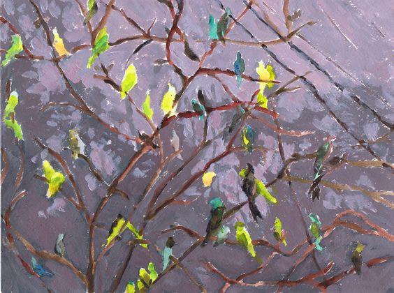 """Parakeet Suite"" by Sharon Giles  original acrylic"