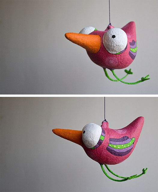 papier mache - Pássaro: