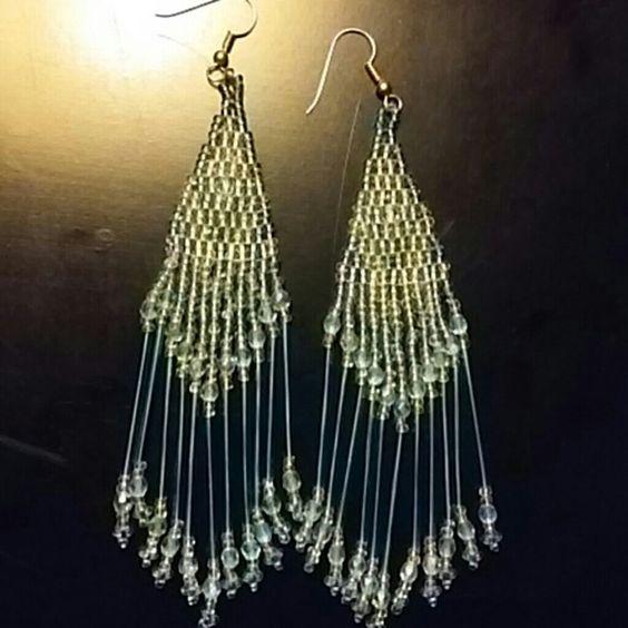 "Handmade earrings Cute tiny tealish blue and clear beaded earrings. Very pretty. Approx 5"" long ? Jewelry Earrings"