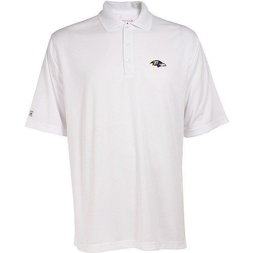 Baltimore Ravens Exceed Polo (White) by Antigua. $28.74. Perfect for Every Fan!. Officially Licensed. Embroidered team logo at left chest. 3 Button Placket. 100% Polyester. Please Note: This item is made-upon-order, therefore requires additional processing time, which is reflected in the estimate above. Please Note: The men's garments from this manufacturer tend to run a little large, so if you're between sizes, you should go with the smaller size. 100% polyester Deser...