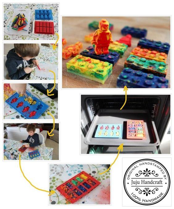 Meu filho adorou fazer essa atividade!!!! Reciclamos o lápis de cera velho e criamos Legos lápis de cera!