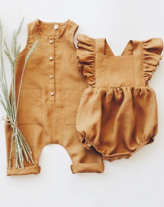 Baby linen romper Baby linen clothes
