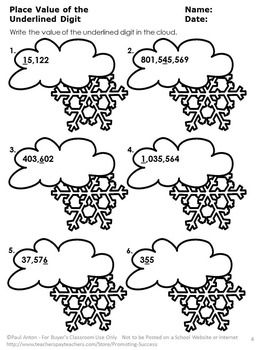 Winter Math: Here are seven winter math review place value worksheets. Students write numbers in standard form with exponents, fill in the missing number and identify the underlined number's place value all with fun, winter themed math problems. Scavenger hunt directions and other games ideas are provided. An answer key is provided for each worksheet.