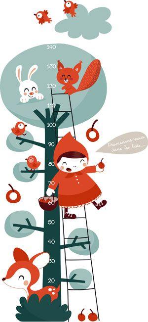 Tuto Toise Chambre Enfant : Toise déco enfant petit chaperon rouge autocollants