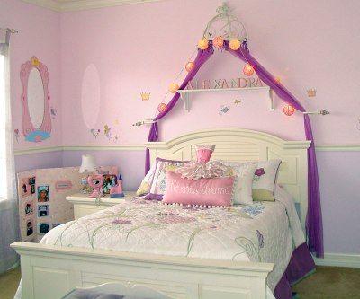 Girl S Princess Themed Bedroom Kids Room Decorating Ideas Girl Bedroom Decor Purple Princess Room Princess Theme Bedroom
