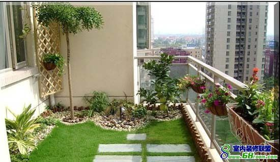 Terrace garden on the balcony of a high rise apartment for Apartment yard design