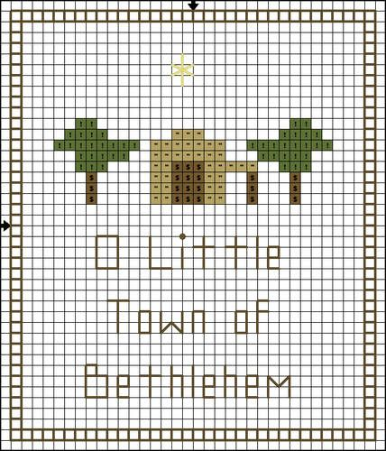 Free Cross Stitch Pattern - O Little Town of Bethlehem - Color Symbol Pattern