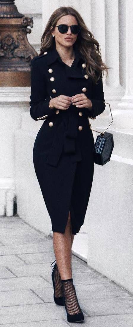 black on black | bag + heels + coat